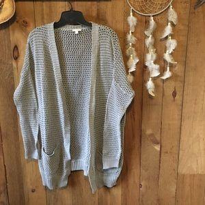 Open weave long grey cardigan